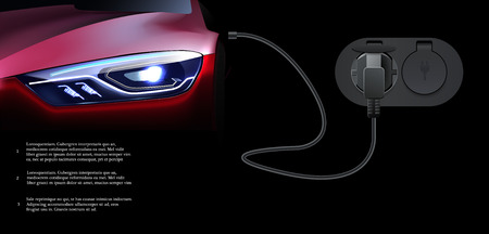 Electric car charging station. Electromobile. Abstract electric vehicle future concept Standard-Bild - 121826668