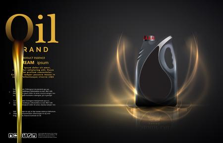 Fles motorolie op een achtergrond een auto-zuiger, technische illustraties. Realistische 3D-vector afbeelding. busadvertentiesjabloon met merkblauwdrukken. Vector Illustratie