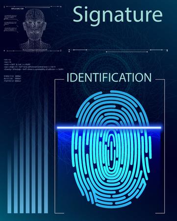 Finger Scan in Futuristic Style. Biometric id with Futuristic HUD Interface. Fingerprint Scanning Technology Concept Illustration. Identification System Scanning. Standard-Bild - 121826670