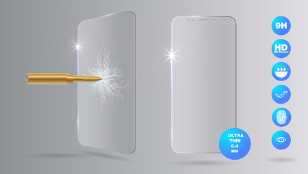 Shot a bullet in protective glass, a crack on glass. Vector screen protector film or glass cover isolated on grey background, mobile accessory