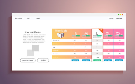 Interface for the site. ui ux vector banner for web app. Pastel pricing table, banner, order, box, button, list and bullet with plan for website in flat design Illustration
