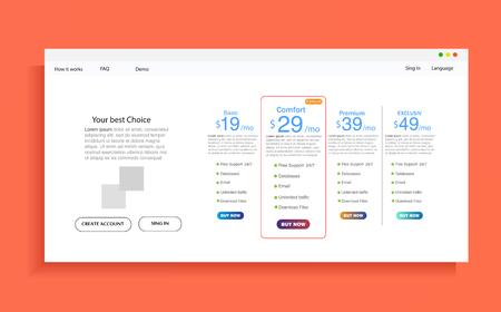 Satz von Angebotstarifen. ui ux Vektor Banner für Web-App. Satz Preistabelle, Bestellung, Box, Schaltfläche, Liste mit Plan für Website in flachem Design.