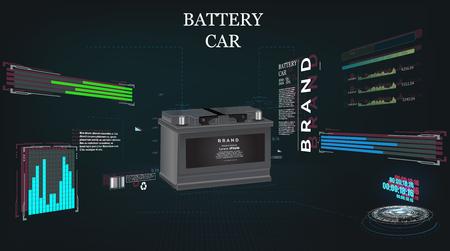 car battery, futuristic sci fi hi tech concept background