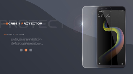 Vector screen protector film or glass cover. Screen protect Glass. Realistic smartphone