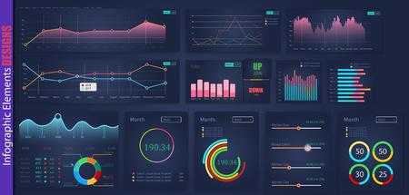 infographic web analysis element design.Art design annual statistics graphs. Abstract concept graphic UI, UX. Information element. Mobile app. Stock market. Mega pack