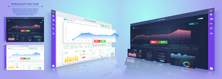 Binary option. All situation on market: Put Call, Win Lost deal. Futuristic user interface. Infographic elements. Abstract virtual graphic touch 3D UI for business app.Screen monitor set web elements Illustration