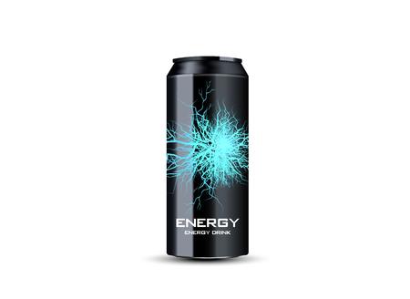 Bebida energética contenida en lata de metal con elemento de rayo eléctrico, fondo verde azulado 3d