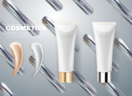 Design of cosmetic packaging. Gray cream tube with smear stroke. 3d realistic vector illustration. Cosmetics mockup for branding. Beauty skincare product Illustration