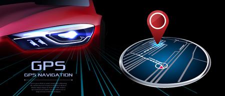 Vector de navegador GPS. En el contexto del coche rojo realista.