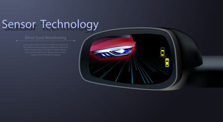 Blind Spot Monitoring Area Zone System Mirror Car Vehicle Side View Alert Warning Avoid Prevent Crash Detection Object Ultrasonic Radar Camera Sensor Technology Automotive Ilustrace