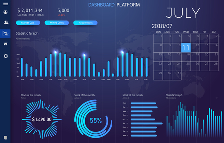 Dashboard infographic template with modern design annual statistics graphs. UI elements eps10 Illustration