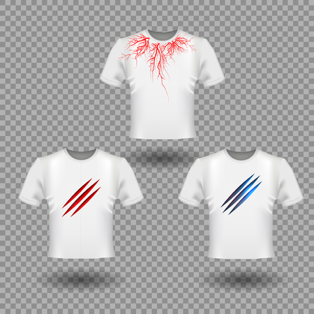 T-Shirt Mockup with Claws scratches and human veins, red blood vessels design eps