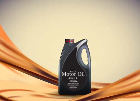 Engine or motor oil on the light golden bokeh background with containers, 3d illustration eps