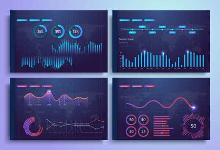 Infographic template with flat design daily statistics graphs, dashboard, pie charts, web design, UI elements. Network management data screen with charts and diagrams. Vecotr eps10