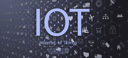 Internet of things (IOT), devices and connectivity concepts on a network, cloud at center.  vecotr Ilustrace