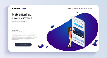 The girl operates mobile banking.Mobile banking. Mobile bank app isometric concept. Online banking design eps10