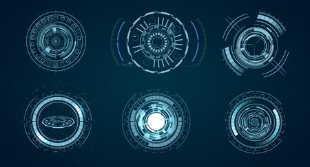 technological HUD elements, futuristic interface virtual reality. Hud futuristic template. Stock Illustratie
