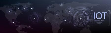Internet de las cosas (IOT), dispositivos y conceptos de conectividad en una red, la nube en el centro. placa de circuito digital sobre el planeta Tierra. Ilustración de vector