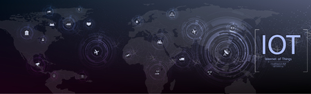 Internet der Dinge (IOT), Geräte und Konnektivitätskonzepte in einem Netzwerk, Cloud im Zentrum. digitale Leiterplatte über dem Planeten Erde. Vektorgrafik