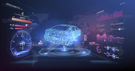 Futuristische gebruikersinterface. HUD-gebruikersinterface. Abstracte virtuele grafische gebruikersinterface met aanraking. Autoservice in de stijl van HUD. Virtuele grafische interface Ui HUD Autoscann. Vector