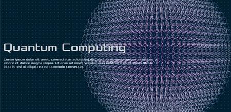 Informatique quantique, intelligence artificielle d'apprentissage en profondeur, illustrations vectorielles infographiques de cryptographie de signal. Visualisation d'algorithmes de Big Data pour les entreprises, les présentations scientifiques.Vector