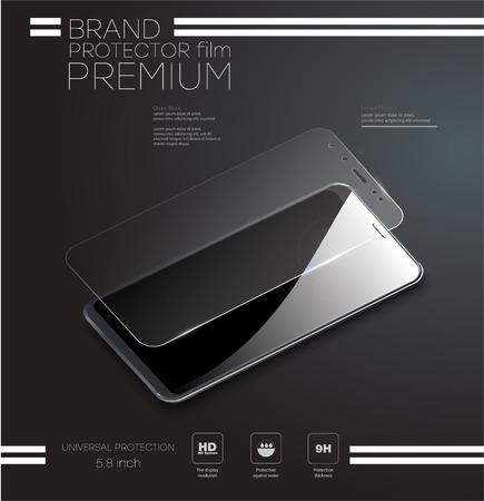 Screenprotector glas. Vectorillustratie van transparant gehard glazen schild voor mobiele telefoon.