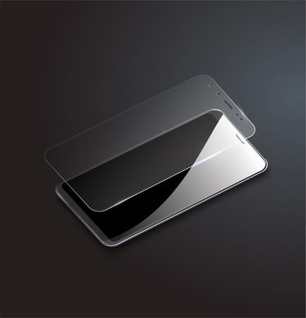 Schermbeschermer glas. Vectorillustratie van transparant gehard glazen schild voor mobiele telefoon