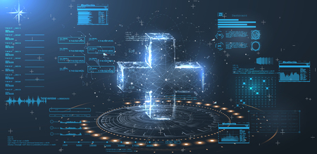 A hologram of a cross on a blue background in style  low poly wireframe. HUD UI for medical app. Illustration