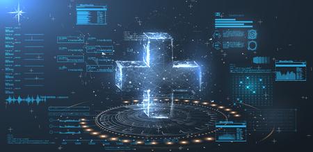 Un hologramme d'une croix sur fond bleu dans un style filaire low poly. Interface utilisateur HUD pour application médicale.
