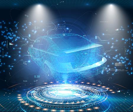 HUD-Benutzeroberfläche. Abstrakte virtuelle grafische Touch-Benutzeroberfläche. Autoservice im Stil von HUD .Hologramm des Autos.