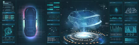Futuristic car user interface. HUD UI. Hologram of the car, scanning. Abstract virtual graphic touch user interface. Çizim