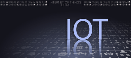 Internet of things (IoT) and networking concept for connected devices. Spider web of