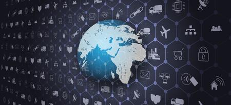 Red mundial de telecomunicaciones conectada alrededor del planeta Tierra Internet de las cosas (IoT) Ilustración de vector