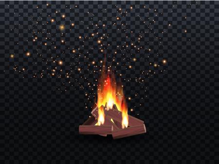 illustration of blazing bonfire inferno fire on wood for outdoor camping or Lohri celebration Illustration