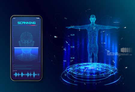 Robot. Artificial intelligence. Biometric identification or Facial recognition system concept. concept of biometric technology, digital Face Scanning,