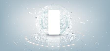 Maqueta de teléfono inteligente blanco realista con concepto de tecnología futurista, teléfono móvil