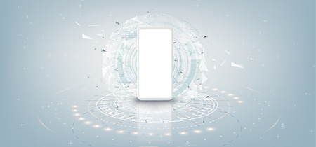 Realistic white smartphone mockup with futuristic technology concept, mobile phone