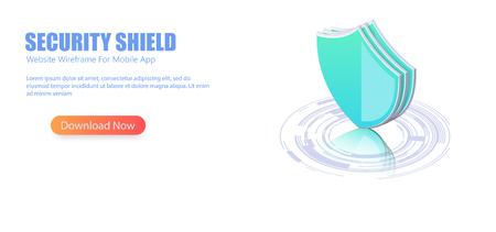 Online server protection system . 3D isometric illustration of security shield server for data protection concept Standard-Bild - 117225056