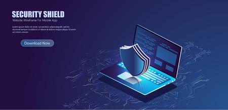 Seguridad Protección de datos Bloqueo de información Tecnología digital isométrica Ilustración de vector