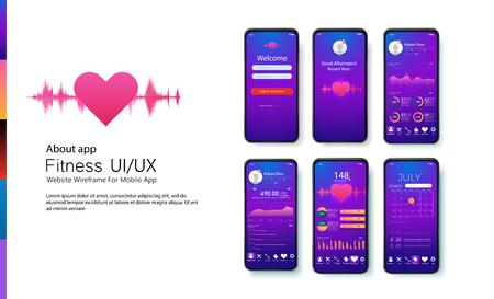 Fitness, training and workout app. Different UI, UX, GUI screens fitness app and flat web icons for mobile apps, responsive website including. Web design and mobile template.