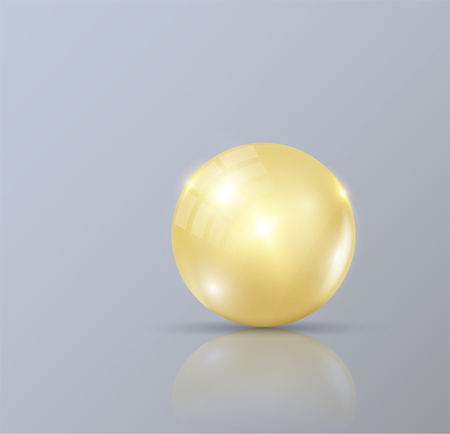 Realistic pearls. gold bubble isolated on gray background. Cosmetic pill capsule of vitamin E, A or argan oil.
