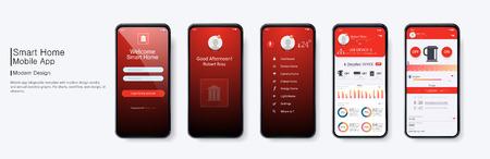 Managing a smart home through a mobile application in a smartphone, mobile application design Vecteurs