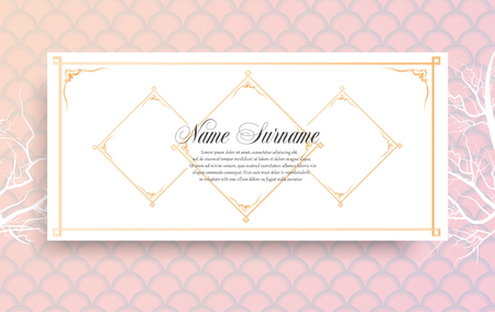 Trendy abstract gift voucher card templates. Korean traditional