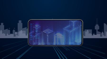 Use Virtual Reality Modeling Software Application. 3d polygonal City, future. Standard-Bild - 117224901