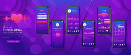 Different UI, UX, GUI screens fitness app and flat web icons for mobile apps, responsive website including. Standard-Bild - 117224904