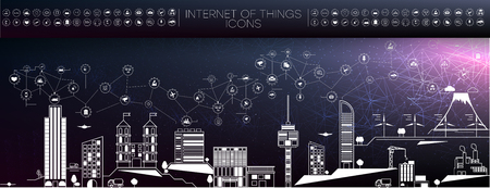 Smart city concept with different icon and elements. city design technology for living. Illustration of innovations and Internet of things.Internet of things Standard-Bild - 117224907