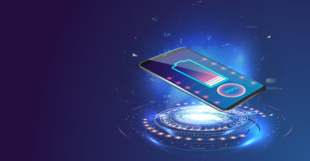 Wireless charging of the smartphone battery. Future concept. The progress of charging the battery of the phone.Wireless charging Vettoriali