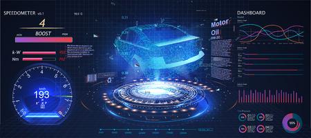 Interface utilisateur de voiture futuriste. Interface utilisateur HUD. Hologramme de la voiture, numérisation. Interface utilisateur tactile graphique virtuelle abstraite.