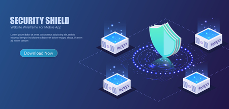3D isometric illustration of Futuristic security shield server for data protection