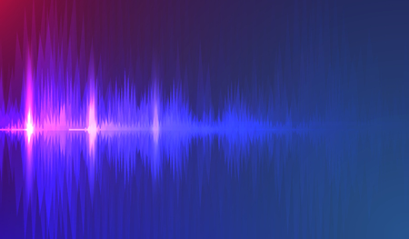 Sound waves oscillating dark blue  light, Abstract technology background.